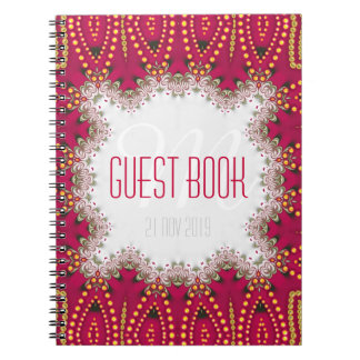 Red Gold Indian Bohemian Monogram Guest Book Spiral Notebook