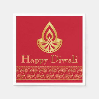 Red & Gold Indian Pattern Design Diwali Party Paper Napkin