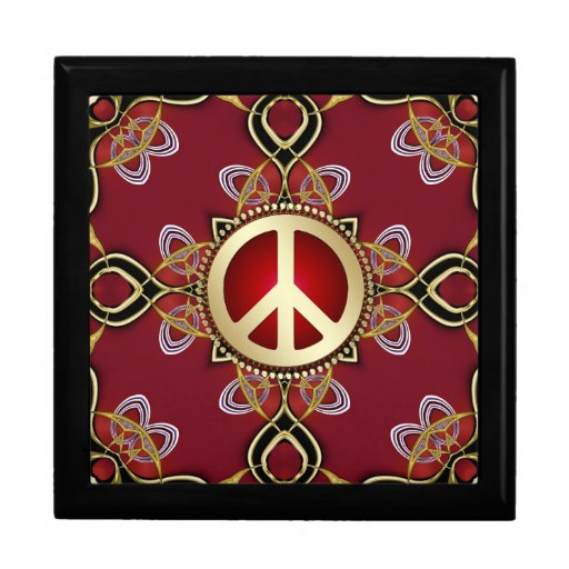 Red Gold Infinity Peace Wooden Gift Box