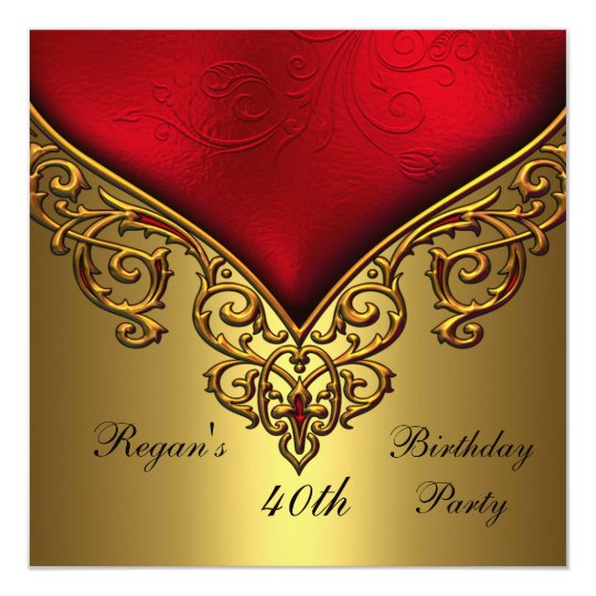Red Gold Jewel 40th Elegant Birthday Party Card