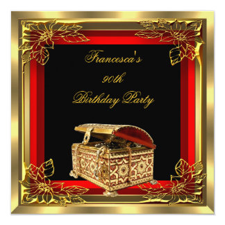 Red Gold Jewel Box Elegant Womans Birthday Party Custom Invitation