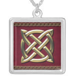 Red & Gold Knotwork Square Necklace