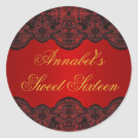 Red & Gold Lace Sweet 16 Sticker