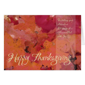 Red & Gold Leaf (3) Thanksgiving Card