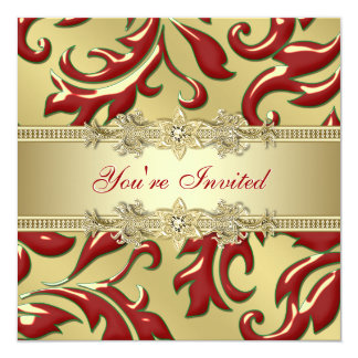 Red Gold Leaf Red Gold Corporate Christmas Party Invitation