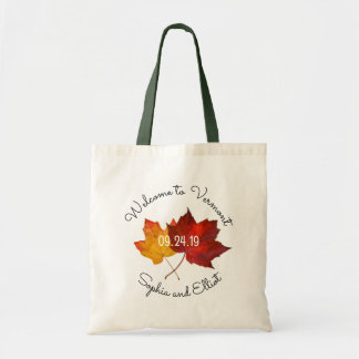 Red Gold Leaves Weekend Wedding Welcome Tote Bag