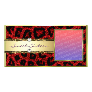 Red Gold Leopard Sweet Sixteen Photocard Photo Card