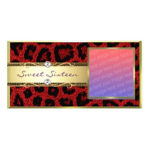 Red Gold Leopard Sweet Sixteen Photocard Card