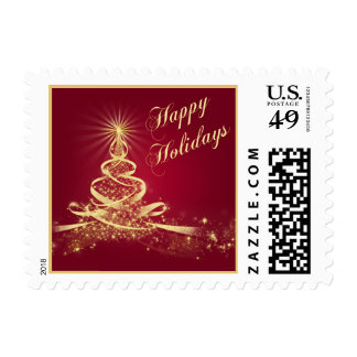 Red, Gold Lighted Tree Happy Holidays Postage 2