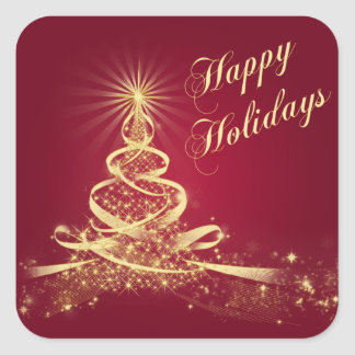Red, Gold  Lighted Tree Happy Holidays Sticker