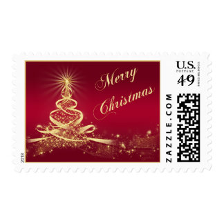 Red, Gold Lighted Tree Merry Christmas Postage