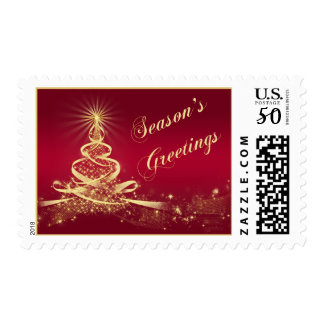 Red, Gold Lighted Tree Season's Greetings Postage