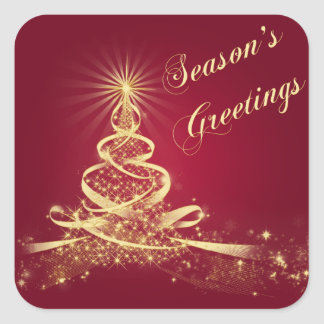 Red, Gold  Lighted Tree Season's Greetings Sticker