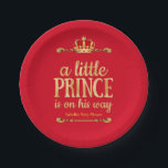 "Red Gold Little Prince On His Way Baby Shower Paper Plate<br><div class=""desc"">Royal Red Gold Prince On His Way Baby Shower. Party Royal Blue Little Prince Crown Baby Shower. Elegant gold damask jewel crown. It&#39;s a Prince For Dinner,  Snacks,  Cakes,  food</div>"