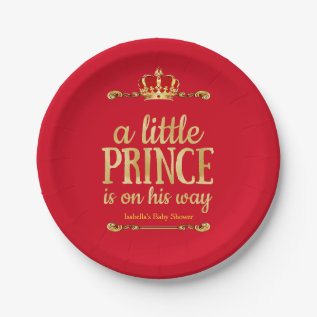 Red Gold Little Prince On His Way Baby Shower Paper Plate at Zazzle