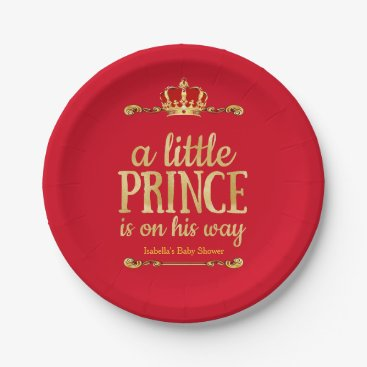 Toddler & Baby themed Red Gold Little Prince On His Way Baby Shower Paper Plate