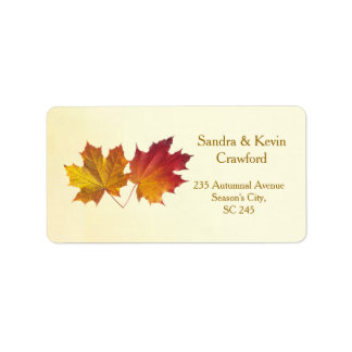 Red & gold maple leaves Address label