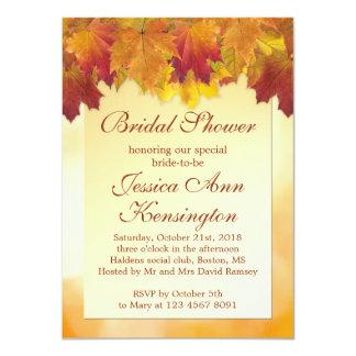 Red, gold maple leaves Bridal Shower Invitation