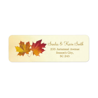 Red & gold maple leaves Return Address label