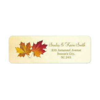 Red & gold maple leaves Return Address label