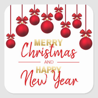 RED Gold Merry Christmas & Happy New Year Square Sticker