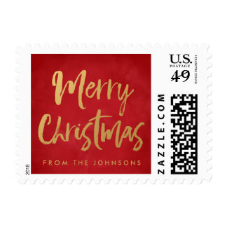 Red & Gold Merry Christmas Personalized Holiday Postage