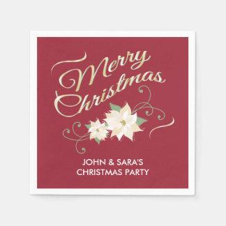 Red & Gold Merry Christmas & White Poinsettias Disposable Napkins