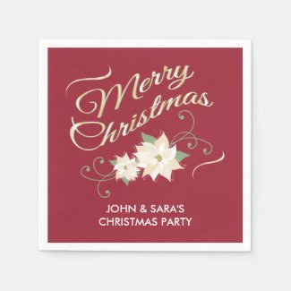 Red & Gold Merry Christmas & White Poinsettias Standard Cocktail Napkin