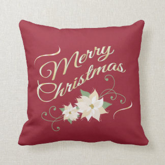 Red & Gold Merry Christmas & White Poinsettias Throw Pillow