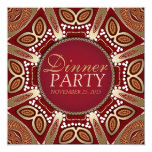 Red+Gold Modern Tribal Dinner Party Invitation