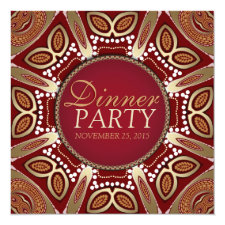 Red Gold Modern Tribal Dinner Party Invitation