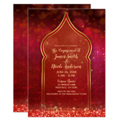 Red & Gold Moroccan Arabian Nights Engagement Invitation