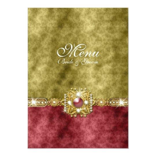 Red gold olive damask wedding card
