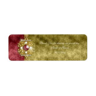 Red gold olive damask wedding return address label