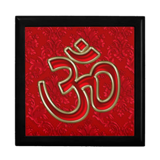 Red Gold OM on Red Damask Gift Box