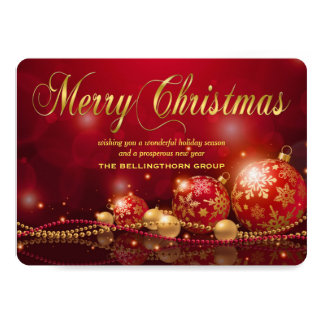 Red Gold Ornament Corporate Christmas Card