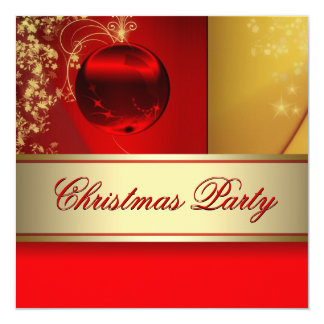 Red Gold Ornament Red Gold Christmas Party Card