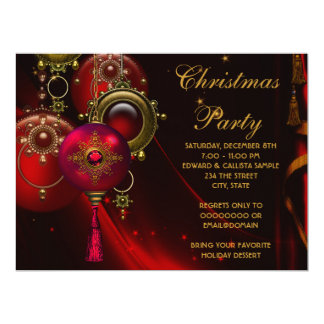 Red Gold Ornaments Corporate Christmas Party Personalized Invite