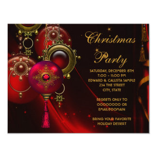 Red Gold Ornaments Corporate Christmas Party Custom Invitations
