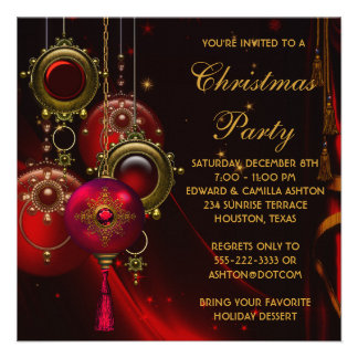 Red Gold Ornaments Corporate Christmas Party Invitation