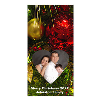 Red & Gold Ornaments Tree Heart Frame Photo Card