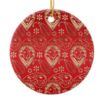 Red Gold Paisley Bandana Pattern Ceramic Ornament