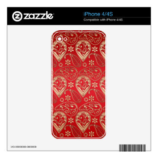Red & Gold Paisley Design Skin For The iPhone 4