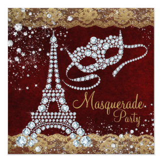 Red Gold Paris Masquerade Party Card