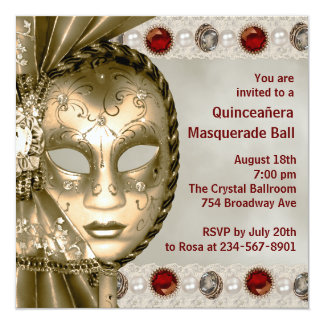 Red Gold Pearl Red Gold Masquerade Party 5.25x5.25 Square Paper Invitation Card