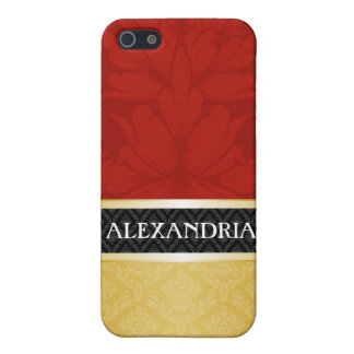 Red & Gold Personalized Damask iPhone 4 Case