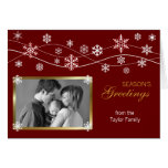 Red & Gold Photo Holiday Greeting Card Template