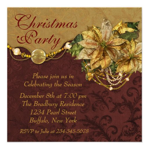 Red Gold Poinsettia Christmas Party Custom Announcements