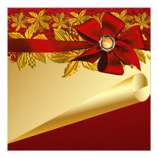 Red Gold Poinsettia Christmas Party Invitations
