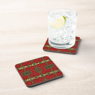Red & Gold Poinsettia Pattern Coasters